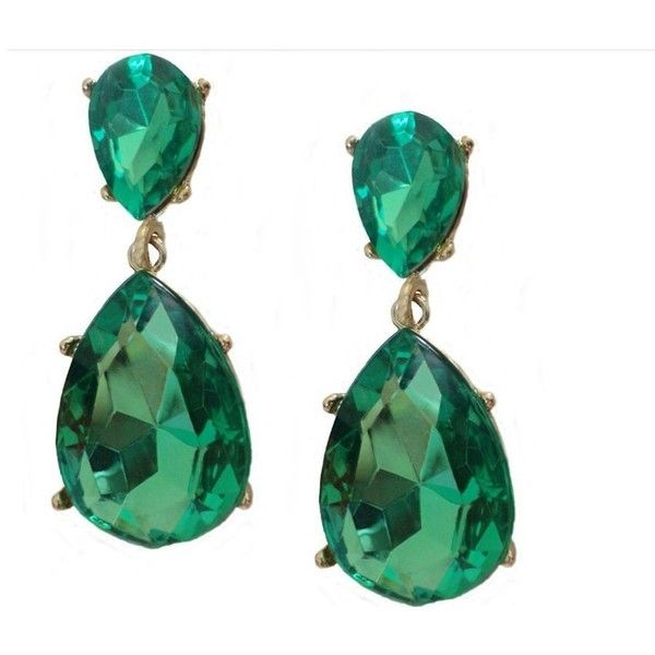 Kyle's Emerald Green Crystal Drop Earrings ❤ liked on Polyvore featuring jewelry, earrings, crystal jewellery, crystal earrings, drop earrings, crystal jewelry y crystal drop earrings