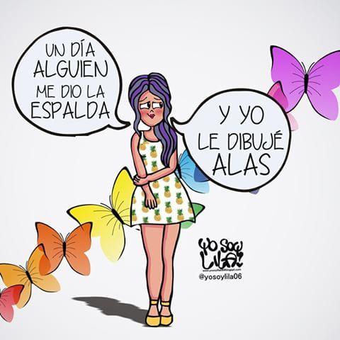 Lo mejor que uno le puede hacer a alguien que le da la espalda y no se quiere quedar es dibujarle unas alas bonitas y bien fuertes para que vuele lejos... Buenas noches  #YOSOYLILA #YOSOYLILA06 #LILA #ALAS #ESPALDA #DIBUJAR #MARIPOSAS #MARTES #VOLAR
