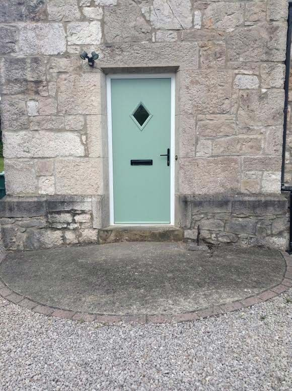 Diamond Glazed Cottage Style Composite Door In Vintage Chartwell Green Adorned With Bold Black