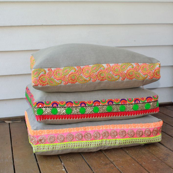 Flax linen floor cushions with embroidered Indian sari edge by Maker & Merchant