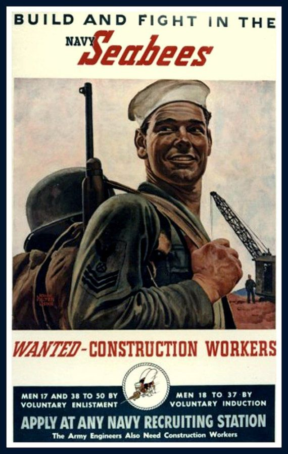 US Navy Seabees Recruiting Print 1940s, WWII. Prints from. old-time Posters. This one was put out by the US Navy to recruit men into the USN Seabees. The original of it dates from the 1940s - World War II. Lovely quaint old Poster advert from its time. PLEASE NOTE: The quality of this Print is NOT up to our usual standard and the graphics are slightly fuzzy or, as a recent purchaser has described it, grainy. It is, however, the best available of this particular Poster. I have another 16