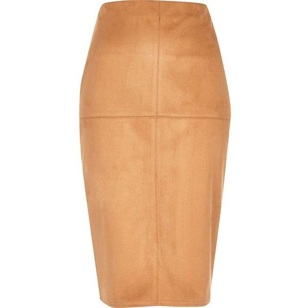 River Island Tan faux suede pencil skirt ($35) ❤ liked on Polyvore featuring skirts, cream, tall skirts, tan midi skirt, knee length pencil skirt, faux suede midi skirt and mid calf skirts