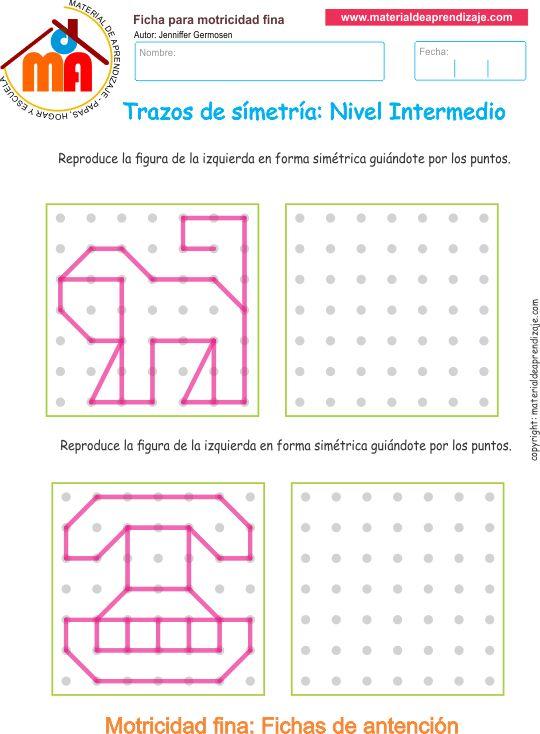 Ejercicio 08nivel intermedio: Actividadesescolares de trazos de simetría paradesarrollar la memoria y la atencióncon los niños.
