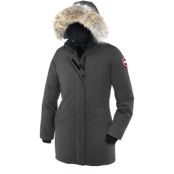 Canada Goose 'Victoria' Slim Fit Down Parka with Genuine Coyote Fur... (1,035 CAD) ❤ liked on Polyvore featuring outerwear, coats, graphite, hooded parka coat, fur hooded parka, canada goose coats, canada goose and fur parka coat