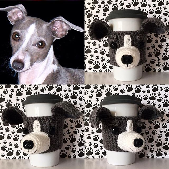 New design. Italian Greyhound Mug Cozy. I just love the ears on this one!  #hookedbyangel #italiangreyhound #italiangreyhoundsofinstagram #miniaturegreyhound #greyhound #greyhoundcorner #greyhoundz #greyhoundlove #doglovers