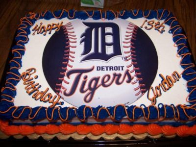 Detroit Tigers Cake: My son's 13th birthday and his love of the Detroit Tigers is what inspired me to make this cake.  It was for his 13th birthday and was made with a normal