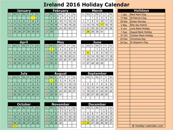 bank holidays ireland 2016 -