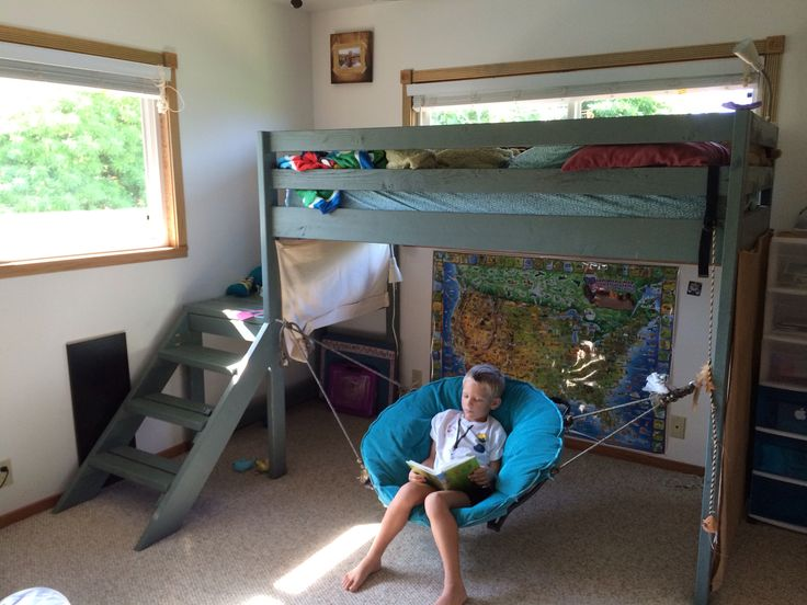 We made this bed using plans from ana white 39 s website for Floating loft bed designs