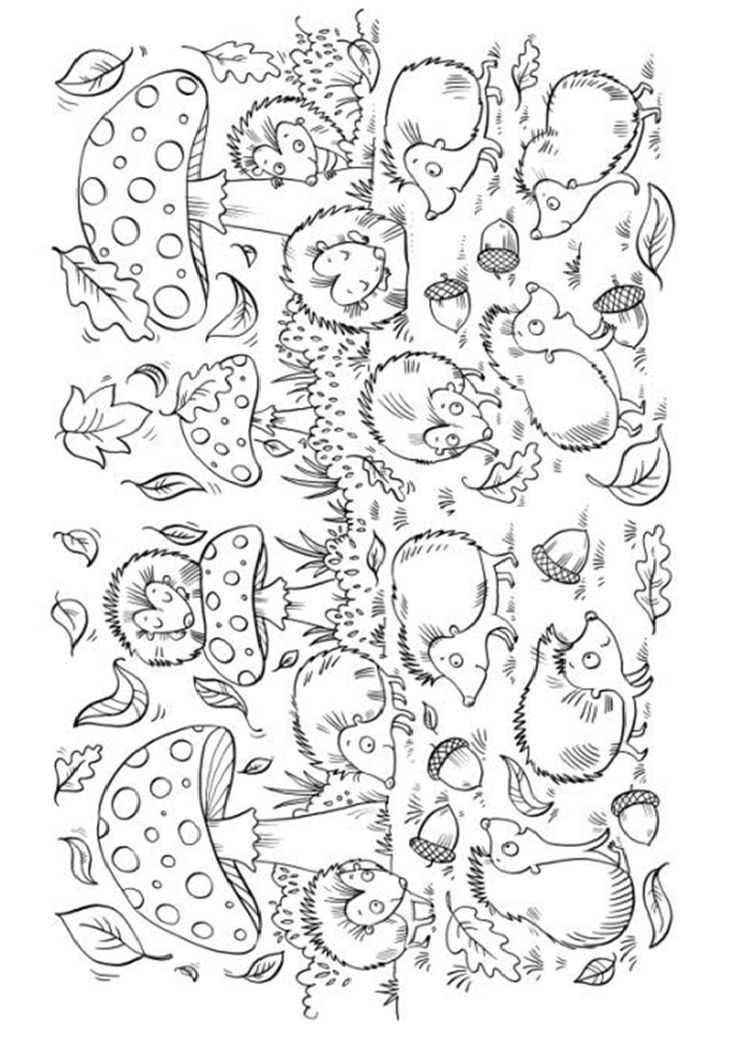 Mushrooms and Hedgehogs coloring page