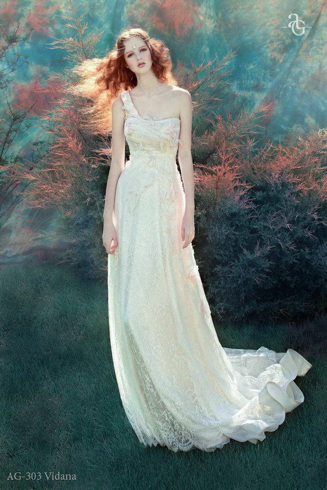 Одно плечо греческом стиле свадебные платья длиной до пола , аппликация свадебного платья долго цвета шампанского свадебное платье