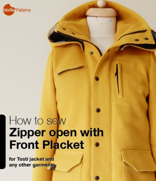 how to sew zipper open with front placket for Tosti Utility jacket Waffle Patterns sewing patterns
