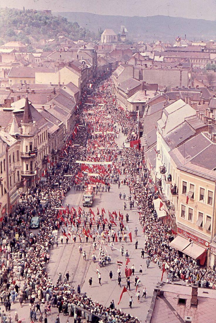 Május 1-jei felvonulás, Miskolc, 50-es évek International Workers' Day rally in…
