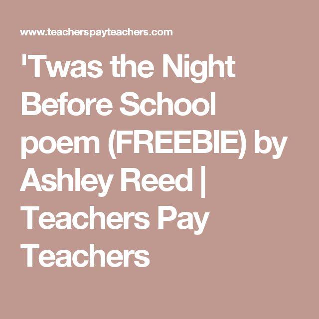 'Twas the Night Before School poem (FREEBIE) by Ashley Reed | Teachers Pay Teachers