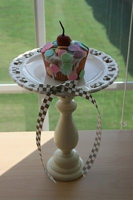 Cupcake Stand Tutorial | And Everything Sweet: DIY: Handmade Cupcakes, Cupcake Stands, Diy Cupcake Stand, Cakes Plates, Diy Cupcakes Stands, Cupcakes Holders, Candlesticks Cakes, Cake Plates, Cupcakes Rosa-Choqu