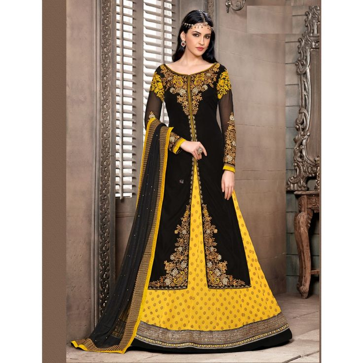 Black and Yellow Georgette #Sharara With Dupatta- $67.32
