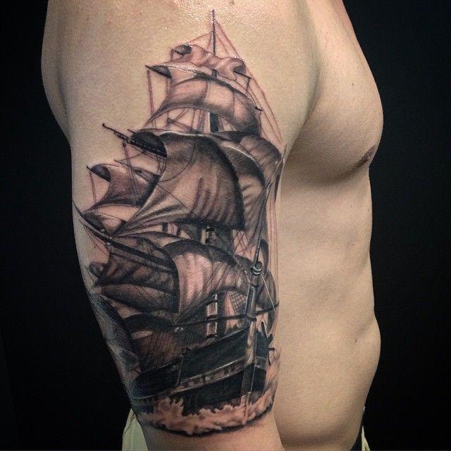 Tattoo Ideas Classic Ships Piercing Ideas Tattoo: Incredible Ship Tattoo On Man's Arm.