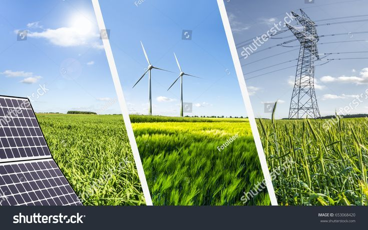 Renewable Energies Concept Collage With Solar Panel Wind Mills And Electrical En Renewable Energy Electrical Energy Solar Energy