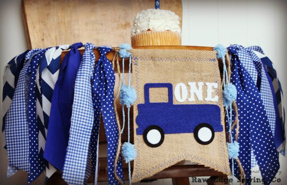 Little Blue Truck Highchair High Chair Birthday Banner Vintage Truck Blue Plaid Gingham Little Man Farm Farmer Animals Party First One