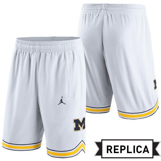 Basketball Jordan University of Michigan Basketball White Replica Shorts