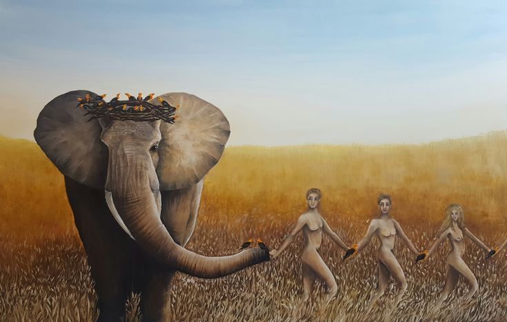 Gallerymak.com - 10.000 TL / 2.850 USD  Where Are My Friends by İpek Keylansoy - TÜYB / #OilonCanvas - 145x95  #gallerymak #yağlıboya #sanat #sanatsal #stil #oilpainting #painting #artexhibition #galeri #artgallery #fil #resim #sergi #afrika #tablo