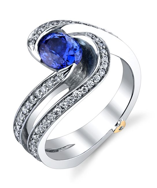 14k white gold Brilliance ring with sapphire accented with 0.515ctw of white diamonds.This piece may be reproduced in the gemstone of your choice. Please allow additional time to source stones.