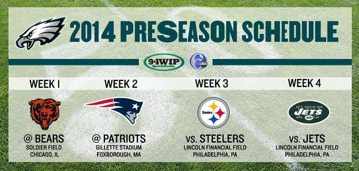 #Eagles announce our 2014 preseason schedule: http://phieagl.es/1k52EPs pic.twitter.com/agYUX9vkF7
