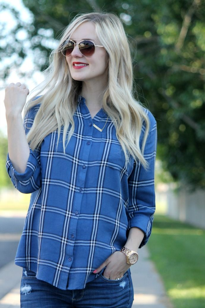 fourth of july, plaid button up, blue plaid, 4th of july, festive holiday look, red lip, lipsense, lipstick, red lipstick, fossil watch, stripes in bloom, modest style, fashion blogger, blog, style blog, plaid top