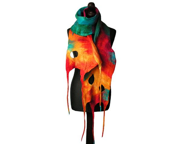 Felted scarf felt scarf felted collar handmade by MarlenaRakoczy