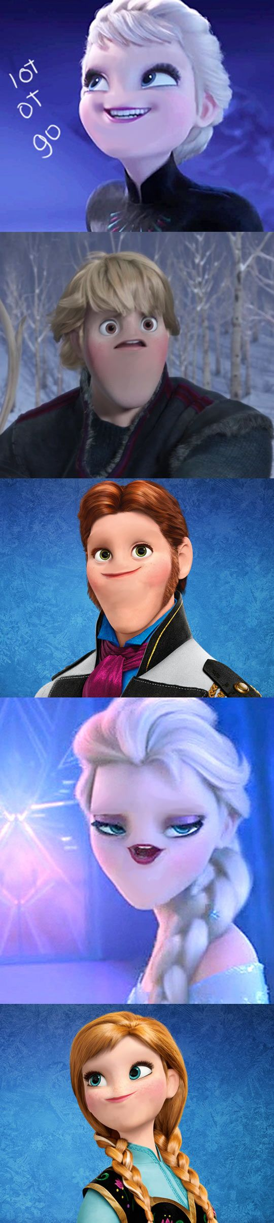 "The 'no nose' trend strikes again and leaves me helpless with giggling because Elsa looks like Cassandra. """"LET IT GO. LET IT GO! DON'T MOISTURIZE ME ANY MOOORRRE."""