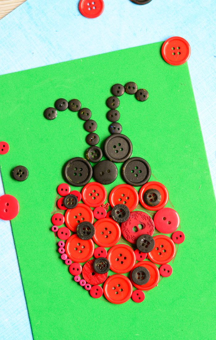 I have a confession to make… I am a button hoarder. It's about time to use some of them for a project or two – like this ladybug button art…