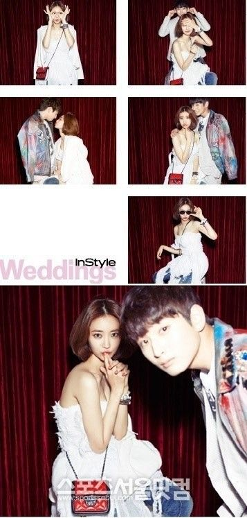 Jinwoon and Go Jun Hee have their wedding photoshoot for 'InStyle' | allkpop