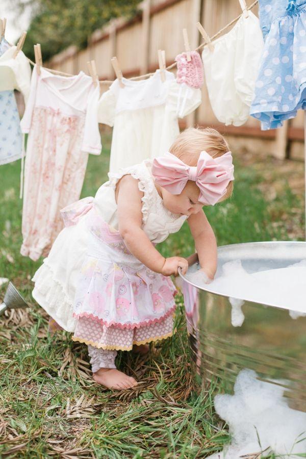 Clothesline vintage laundry baby girl photo shoot