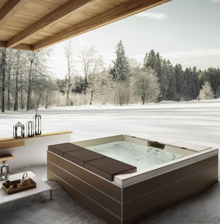 Fantastic this #outdoor #minipool scene! You can use it outside also in winter thanks to the water heater! #design