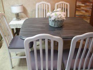 Ildikó Dizájn: étkező garnitúra deszka utánzatos asztallappal