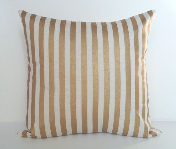 Pillow Cover Gold Cream and Gold Pillow by DebsCottonCottage