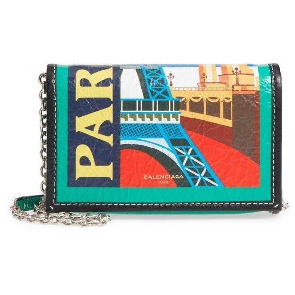 Womens Balenciaga Bazar Printed Leather Wallet On A Chain ($1,390) ❤ liked on Polyvore featuring bags, wallets, paris black multi, balenciaga wallet, real leather bags, real leather wallets, genuine leather bag and leather wallets