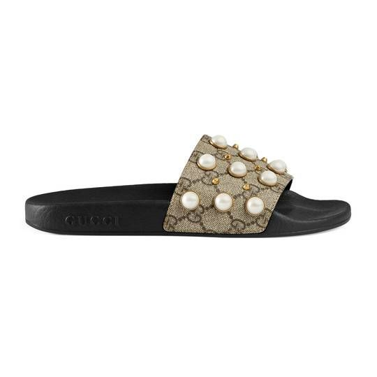 d49537c9f41 GG Supreme slide with pearls - Gucci Women s Slides   Thongs 475748KGD009761