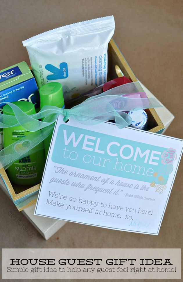 Welcome guests to your home with a gift box with cute printable.  Perfect to welcome any guest!