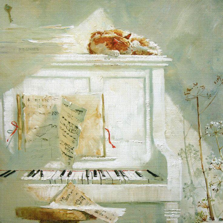 "Maria Pavlova cute cat musician ""Asleep Music"""