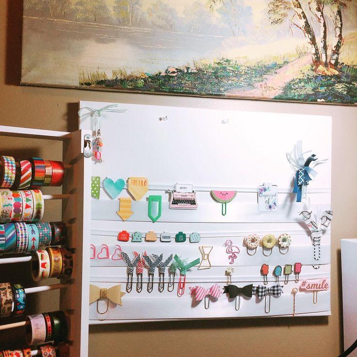 Diy planner clip storage using canvas and ribbon IG:minaariel