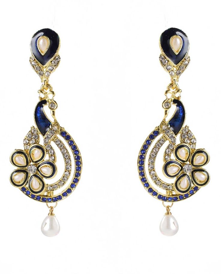 Best for wedding & engagement, Kriaa Austrian Stone Purple Meenakari Peacock Pearl Drop Gold Plated Dangle Earrings @ Rs. 245/- Buy now at http://www.jewelmaze.in/product/AAA0447/Earrings/Kriaa-Austrian-Stone-Purple-Meenakari-Peacock-Pearl-Drop-Gol/?pd=EGJ#.VtbCTn197IV