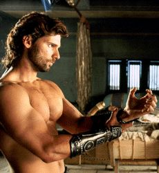 Gazing at Eric Bana more than Brad Pitt during Troy