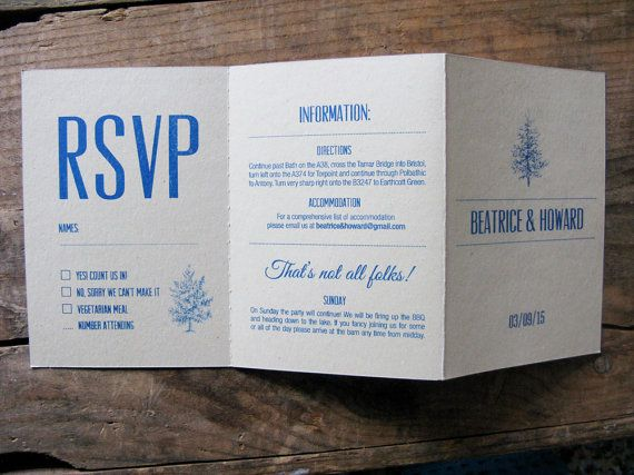 Rustic woodland wedding invitation RSVP and information in one