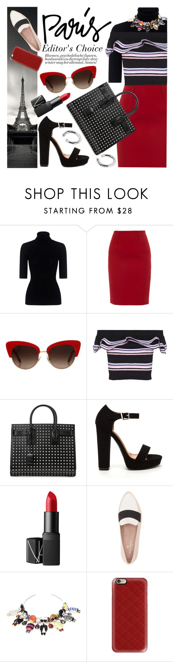 """""""Paris - From Heels to Flats"""" by ivansyd ❤ liked on Polyvore featuring Theory, Paule Ka, Dolce&Gabbana, MSGM, Yves Saint Laurent, NARS Cosmetics, Kate Spade, Bijoux de Famille, Casetify and Sophie Buhai"""