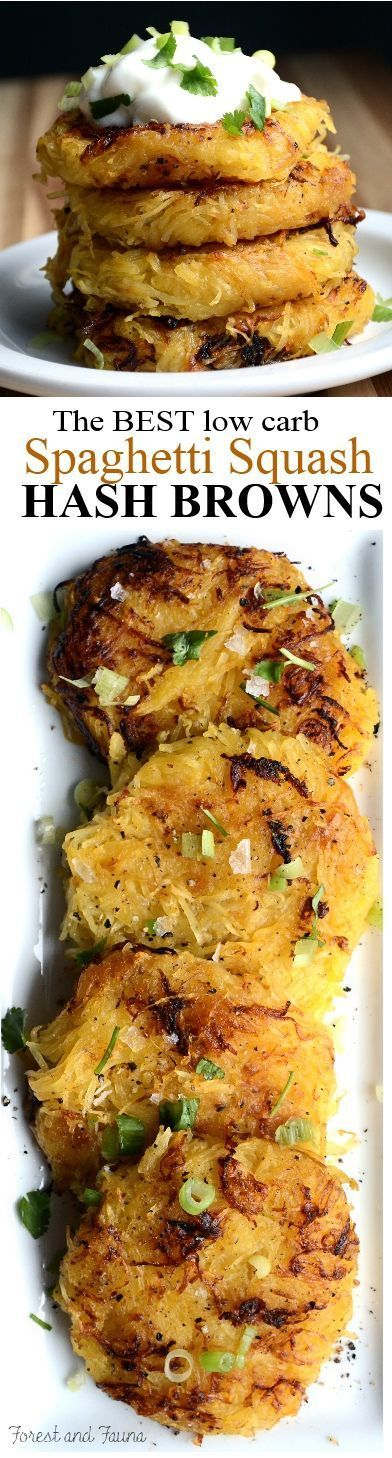 These low carb spaghetti squash hash browns have been pretty revolutionary for my paleo diet. The light crispy texture on the edges and soft golden insides of each patty will have you wondering why the heck in the olden days...: