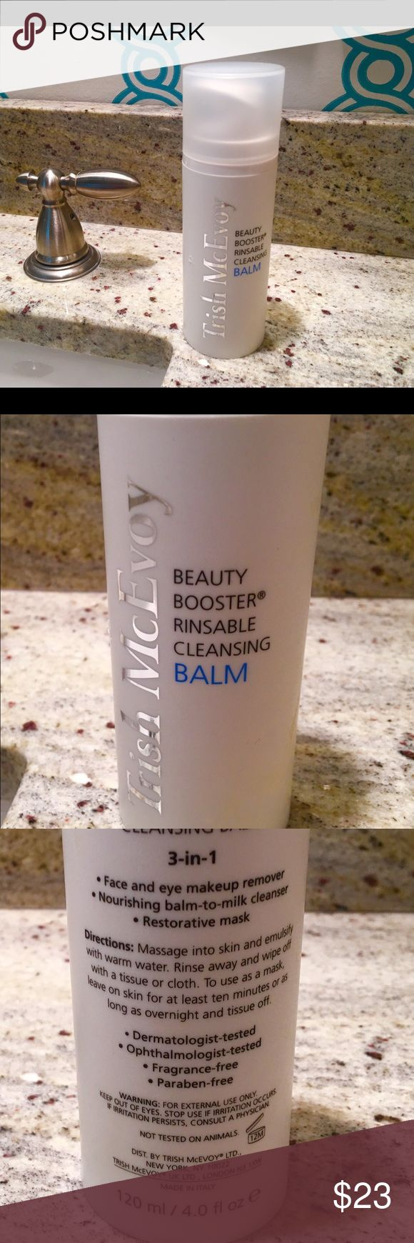 👍Disc Ship Trish McEvoy  3-in-1 Cleanse Balm Brand new, never been opened or used. Luxuriate in Trish McEvoy's Beauty Booster Rinsable Cleansing Balm. It glides on, nourishes skin, melts away make up and dissolves the debris of the day. Emulsified with warm water, what begins with a balm transforms into weightless milk and rinses away without a trace of residue. Skin is left feeling clean & supple with a cushiony finish. The pure vitamin rich formula can be used as a pampering mask. Non…