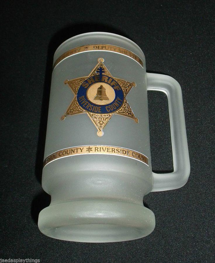 "Riverside County Sheriff Stein Mug Kapan Kent Frosted Glass 5.5"" FREE US Ship"