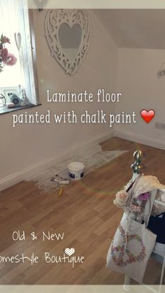Boring laminate floor in my bedroom that I've painted with chalk painted