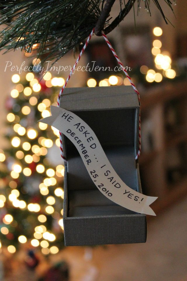 #donnamorganengaged DIY ornament to remember your engagement! We got engaged on Christmas! This is perfect