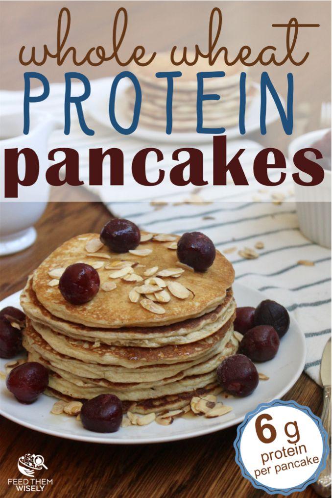 Fluffy whole wheat almond flour protein pancakes.  #proteinpackedbreakfast #pancakerecipe #healthybreakfast #healthy #noaddedsugar